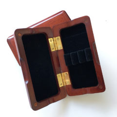 Oboe reed case, wood, holds 3 (ribbon-style)